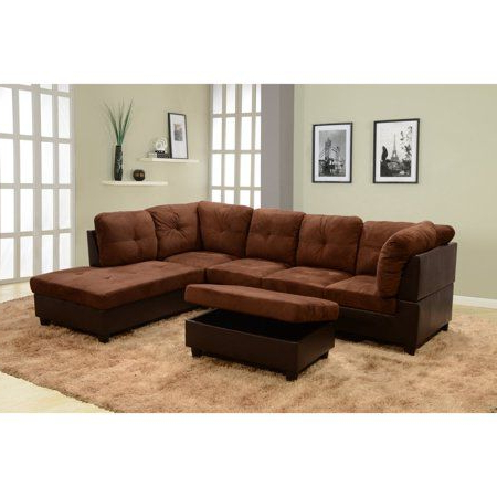 Current Beverly Fine Furniture 3 Piece Chocolate Microfiber & Faux Inside 3pc Faux Leather Sectional Sofas Brown (View 4 of 10)