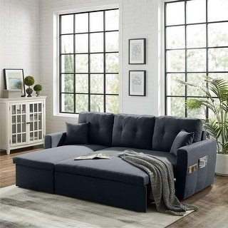 Current Hartford Storage Sectional Futon Sofas Intended For Shop Merax 84 Inch Pull Out Sleeper Sectional Sofa Storage (View 5 of 10)