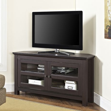 """Current Manor Park Modern Farmhouse Corner Tv Stand For Tv's Up To In Corner Tv Stands For Tvs Up To 48"""" Mahogany (View 8 of 10)"""