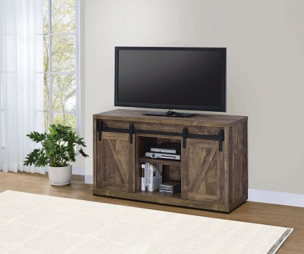 """Current Rustic Oak 48 Inch Tv Console W/ Sliding Barn Doors Within Modern Farmhouse Style 58"""" Tv Stands With Sliding Barn Door (View 5 of 10)"""