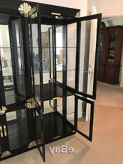Current Vintage Chinoiserie Glass Door China Cabinets(2) Display With Dark Brown Tv Cabinets With 2 Sliding Doors And Drawer (View 4 of 10)