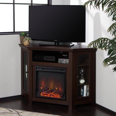 Current Walker Edison Espresso Corner Fireplace Tv Stand For Tvs For Walker Edison Wood Tv Media Storage Stands In Black (View 8 of 10)