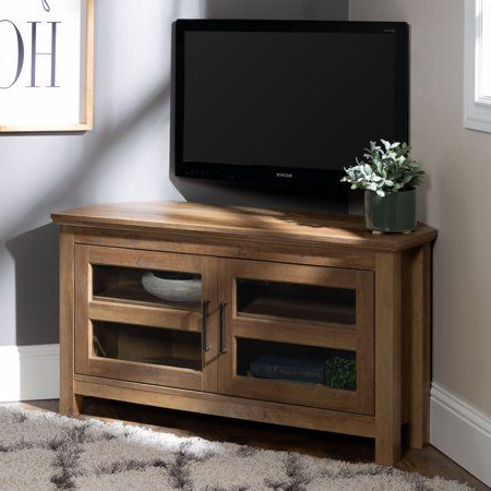 """Current Woven Paths Transitional Corner Tv Stands With Multiple Finishes For Manor Park Wood Corner Tv Stand For Tvs Up To 48"""" – Rustic (View 2 of 10)"""