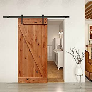 Dark Brown Tv Cabinets With 2 Sliding Doors And Drawer Inside Most Popular Barn Door Kit Complete W/knotty Alder Door And Hardware (View 7 of 10)