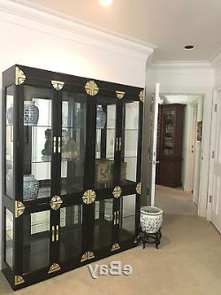 Dark Brown Tv Cabinets With 2 Sliding Doors And Drawer Within Preferred Vintage Chinoiserie Glass Door China Cabinets(2) Display (View 8 of 10)