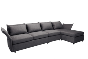 Dark Grey Bella Fabric Sectional Sofa With Pillows In Recent Noa Sectional Sofas With Ottoman Gray (View 9 of 10)