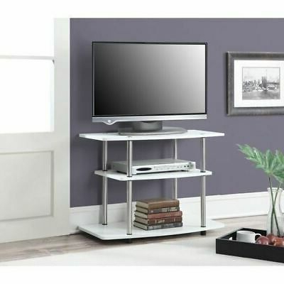 Deco Wide Tv Stands With Most Recently Released White Finish 3 Tier Tv Stand Media Storage Console (View 4 of 10)