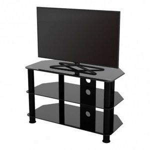 """Dillon Black Tv Unit Stands Intended For Trendy Tv Stand Modern Black Glass Unit For Up To 42"""" Inch Hd Lcd (View 7 of 10)"""