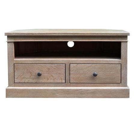 Dillon Oak Extra Wide Tv Stands Regarding Newest Dorma Farnham Round Grey Oak Wood Corner Tv Stand (View 3 of 10)
