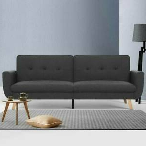 Easton Small Space Sectional Futon Sofas Inside Famous Artiss Sofa Bed Lounge Set Couch Futon 3 Seater Fabric (View 1 of 10)