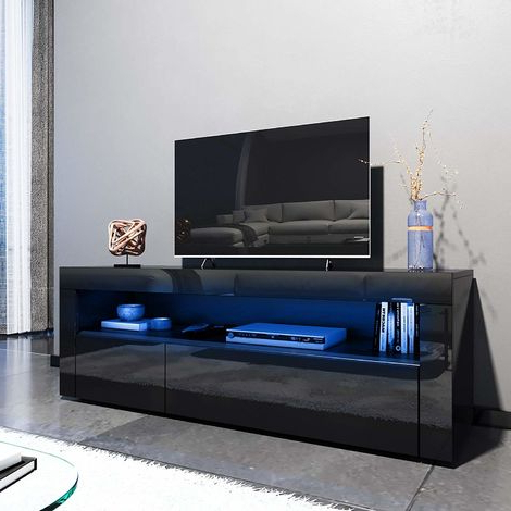 Elegant 1200mm Modern Black Gloss Tv Unit Stand With Led With Regard To Most Recently Released Modern Black Floor Glass Tv Stands With Mount (View 6 of 10)