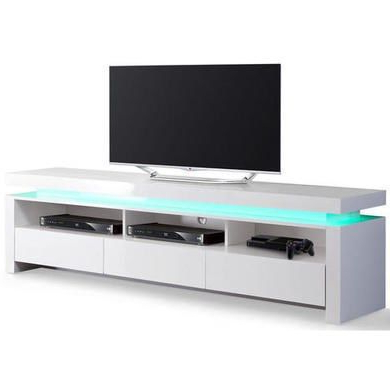 Evoque Led Tv Unit In White High Gloss With 3 Touch Open For Newest Polar Led Tv Stands (View 5 of 10)