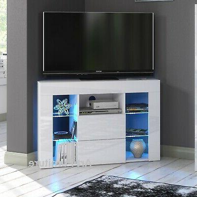 Famous Corner Tv Unit Cabinet 100cm White Gloss & Matt Led Lights In Corona White Corner Tv Unit Stands (View 5 of 10)