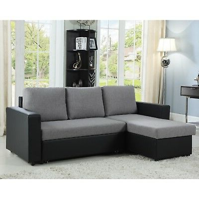 Famous Gray & Black Reversible Storage Sofa Sleeper Sectional Inside Palisades Reversible Small Space Sectional Sofas With Storage (View 4 of 10)