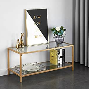Famous Mainstays Tv Stands For Tvs With Multiple Colors With Amazon: Mainstays Tempered Glass And Metal Tv Stand (View 5 of 10)