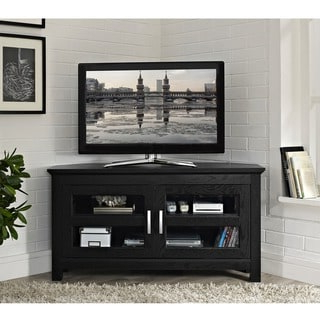 Famous Modern Black Tv Stands On Wheels Pertaining To Black Wood 44 Inch Corner Tv Stand – Overstock Shopping (View 3 of 10)