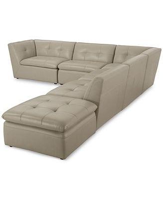 Famous Paul Modular Sectional Sofas Blue Within Xavior Leather Modular Sectional Sofa, 6 Piece (end Unit (View 8 of 10)