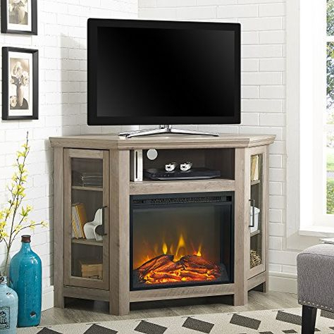 Fashionable Fireplace Media Console Tv Stands With Weathered Finish For Home Accent Furnishings New 48 Inch Corner Fireplace Tv (View 1 of 10)