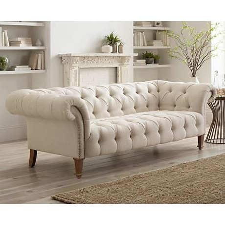 """Fashionable French Seamed Sectional Sofas In Velvet In Tessa 90 3/4"""" Wide Tufted Beige Linen French Sofa – #2x (View 2 of 10)"""
