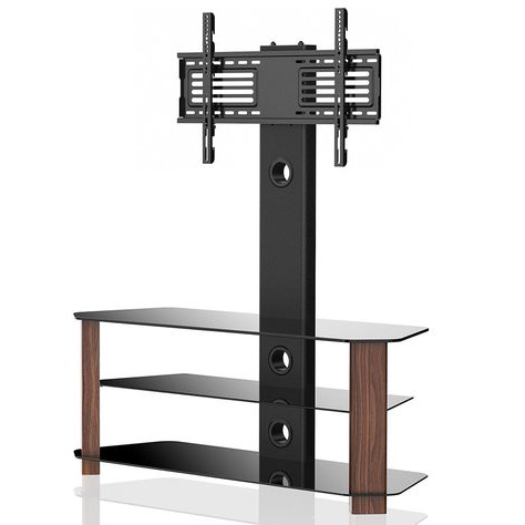 """Fashionable Glass Shelf With Tv Stands Inside Floor Tv Stand With Swivel Mount 3 Shelves For 42 55"""" Lcd (View 5 of 10)"""