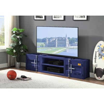 """Fashionable Miconia Solid Wood Tv Stands For Tvs Up To 70"""" Throughout Navy Blue Tv Stand (View 9 of 10)"""
