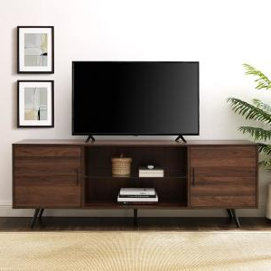 Fashionable Modern 2 Glass Door Corner Tv Stands Regarding 52 In (View 4 of 10)