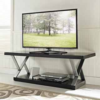 Fashionable Modern Black Floor Glass Tv Stands With Mount Throughout Industrial Black Glass 60 Inch Tv Stand – Overstock –  (View 1 of 10)