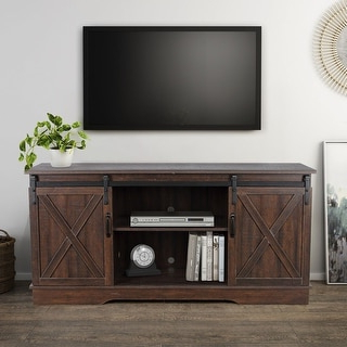 """Fashionable Shop Belleze Modern Farmhouse 58"""" Sliding Barn Door Tv Pertaining To Tv Stands With Sliding Barn Door Console In Rustic Oak (View 10 of 10)"""