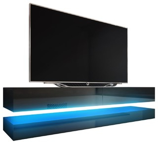Fashionable Tv Stands Fwith Tv Mount Silver/black Intended For Fly Wall Mounted Floating Tv Stand 16 Colors Led Fits  (View 7 of 10)