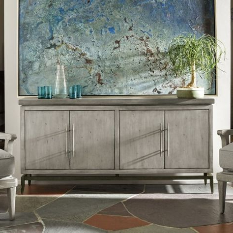 Fashionable Urban Rustic Tv Stands For Garrison Concrete Top Bronze Base Media Cabinet  (View 5 of 10)