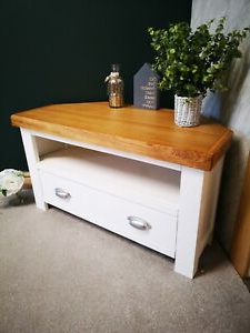 Fashionable White Oak Corner Tv Unit – Painted Small Cabinet – Modern Inside Corona White Corner Tv Unit Stands (View 6 of 10)