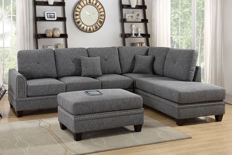Favorite 3pc Polyfiber Sectional Sofas With Nail Head Trim Blue/gray Pertaining To Poundex Ash Black Polyfiber Reversible Chaise Sectional (View 7 of 10)