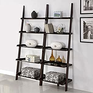 Favorite Amazon: Cool Decorative Walnut 5 Shelf 2 Piece Leaning Within Mainstays Payton View Tv Stands With 2 Bins (View 6 of 10)