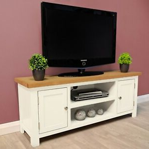 Favorite Belgravia White Painted Large Oak Tv Unit / Plasma / Solid Within Chromium Extra Wide Tv Unit Stands (View 10 of 10)