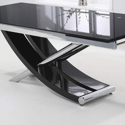 Favorite Milan Glass Tv Stands Intended For Hanford Black Glass Extending Dining Table With 12 Milan (View 1 of 10)