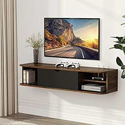 Floating Tv Shelf Wall Mounted Storage Shelf Modern Tv Stands Inside Most Popular Amazon: Tribesigns Rustic Wall Mounted Media Console (View 3 of 10)