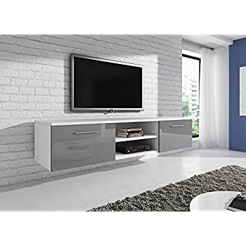 Floating Tv Unit Cabinet Stand Vegas White / Fronts High With Newest 57'' Led Tv Stands With Rgb Led Light And Glass Shelves (View 3 of 10)