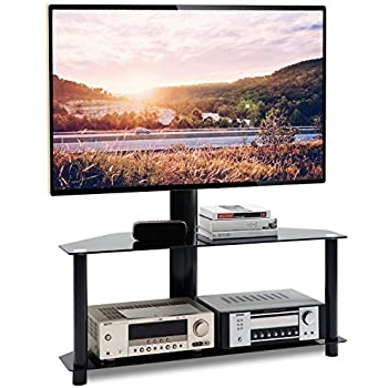Floor Tv Stands With Swivel Mount And Tempered Glass Shelves For Storage Regarding Most Popular Amazon: Tavr Swivel Floor Tv Stand With Height (View 5 of 10)