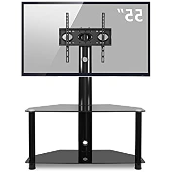 Floor Tv Stands With Swivel Mount And Tempered Glass Shelves For Storage Within 2018 Amazon: Mount It! Tv Stand With Mount And Storage (View 2 of 10)