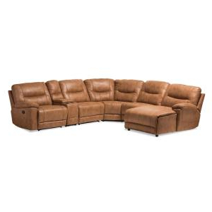 Florence Mid Century Modern Left Sectional Sofas In Newest Baxton Studio Mistral 6 Piece Tan Faux Leather 6 Seater L (View 8 of 10)