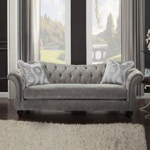 French Seamed Sectional Sofas In Velvet Throughout Latest Light Grey Velvet Sofa (View 5 of 10)