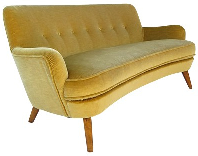 French Seamed Sectional Sofas Oblong Mustard For 2017 Vintage Sofa In Yellow Mustard Velvet And Wood – 1950s (View 2 of 10)