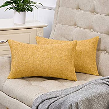 French Seamed Sectional Sofas Oblong Mustard Inside Fashionable Amazon: Anickal Set Of 2 Mustard Yellow Lumbar Pillow (View 1 of 10)
