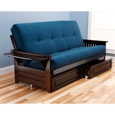 Full Wheaton Coil Spring Mattress Futon With Drawers Navy Inside Best And Newest Debbie Coil Sectional Futon Sofas (View 3 of 10)