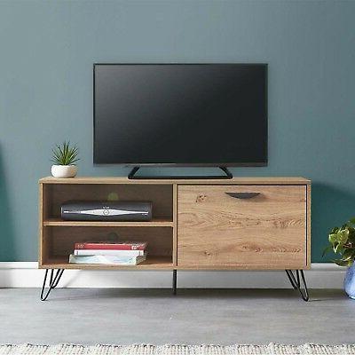 Fulton Oak Effect Wide Tv Stands Throughout Newest Vonhaus Capri Tv Unit 120cm Oak Effect Console Table Pull (View 8 of 10)