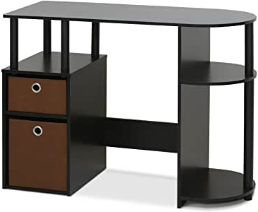 Furinno Jaya Large Tv Stands With Storage Bin Pertaining To Most Popular Furinno 15111exbkbr Jaya Simplistic Computer Study Desk (View 2 of 10)