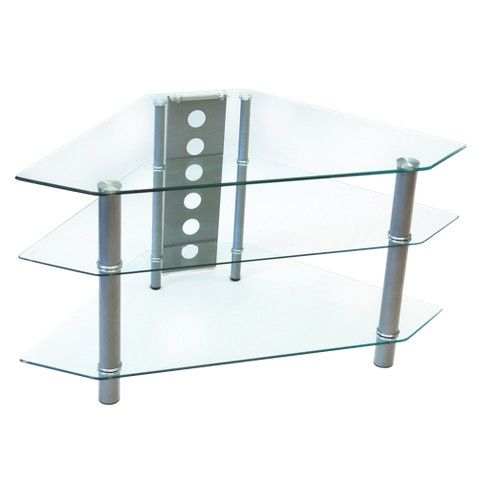"""Glass Corner Tv Stand – Clear/chrome (44"""") (View 6 of 10)"""