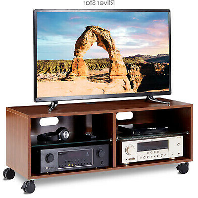 """Glass Doors Corner Tv Stands For Tvs Upto 42"""" Regarding Fashionable Rolling Wood Entertainment Center Corner Tv Stand With (View 1 of 10)"""