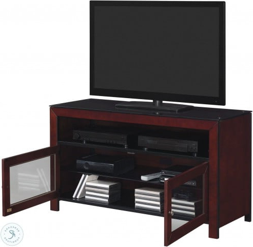 """Glass Shelves Tv Stands For Tvs Up To 50"""" For 2018 Bell'o Deep Mahogany 50"""" Tv Stand From Twin Star (View 1 of 10)"""