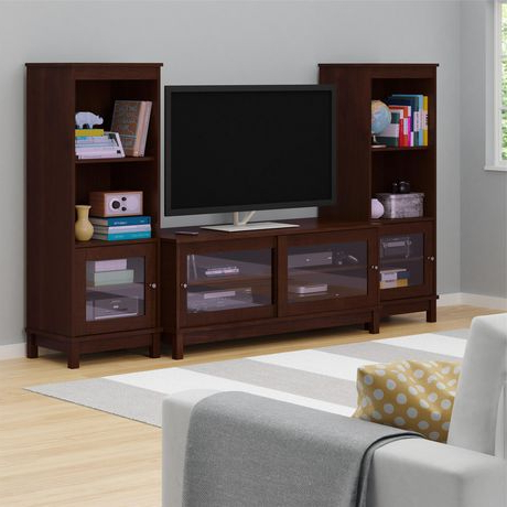 """Glass Shelves Tv Stands For Tvs Up To 50"""" With Well Known Tv Stand With Sliding Glass Doors For Tvs Up To 55"""", Dark (View 4 of 10)"""